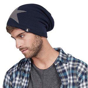 Slouchy Star Long Ski Skull Cap for Men or Women